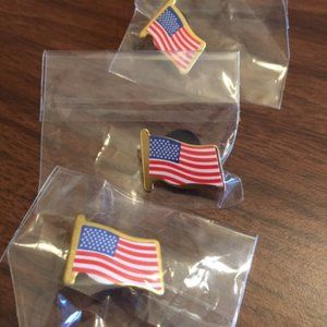 3 American flag USA lapel pins-NEW IN BAGS